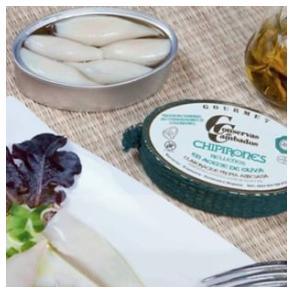 Calamars farcis à l'huile d'olive présentation - Conserves de Cambados - Galice Espagne