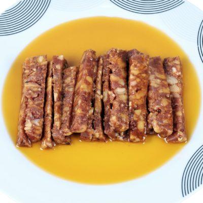 Présentation des saucisses aux raisins secs - Casa da Avoa