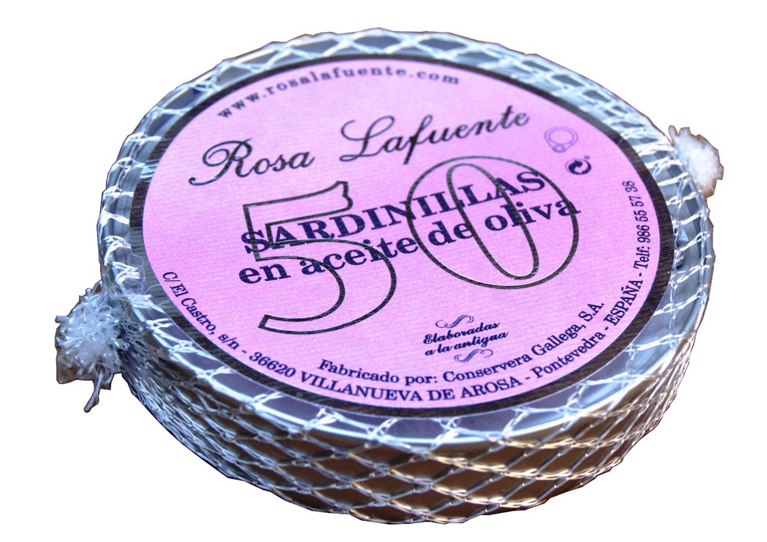 50 Petites sardines à l'huile d'olive - Rosa Lafuente - Conserves de poissons de Galice