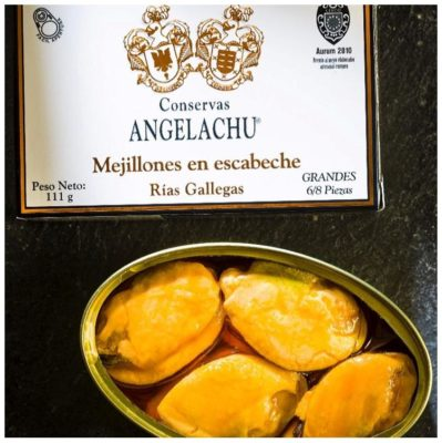 Moules à l'escabèche ouverte - Angelachu - Conserves d'anchois de Santoña - Cantabrie