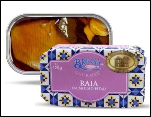 Raie à la sauce pitau ouverte - Briosa - Conserverie Portugal Norte - Conserves de sardines du Portugal