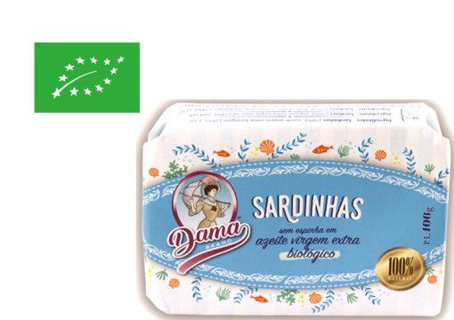 Sardines Millésimées sans arête à l'huile d'olive extra vierge biologique - Dama - Conserverie Portugal Norte