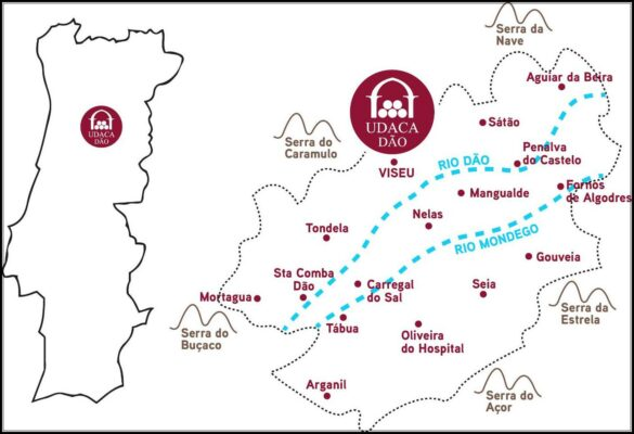 Carte du vignoble du Dão